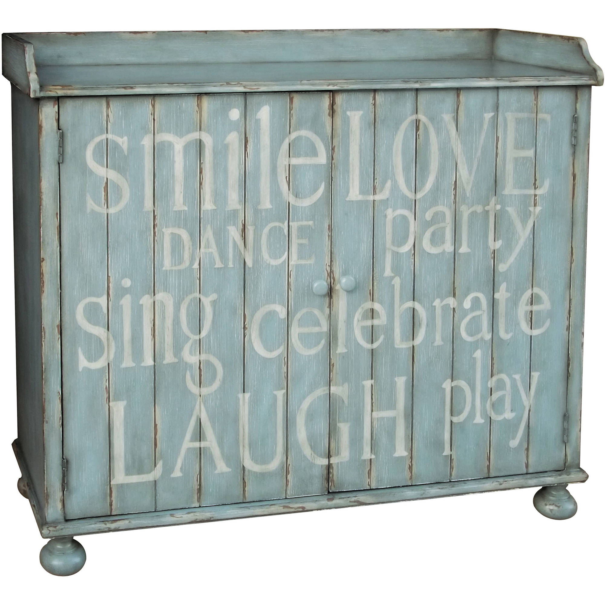 Distressed Blue Painted Words Wine Cabinet by
