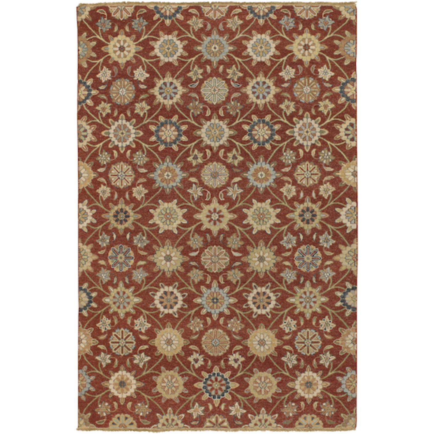 6' x 9' Sumerian Breeze Brick Red and Taupe Wool Area Throw Rug