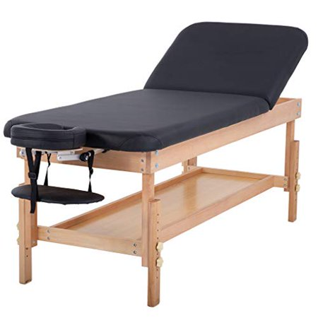 Stationary Massage Table Massage Bed Spa Bed 74'' Long 28'' Wide Hight Adjustable Massage Table Memory Foam Layer PU Massage Bed Profession Heavy Duty Spa Bed Facial Cradle Salon