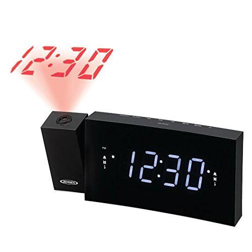 Jensen JCR-238BB Alarm Clock FM Radio USB Charging & Time Projection, Battery Backup, Dual Alarm, 1.2-Inch LED Display... by