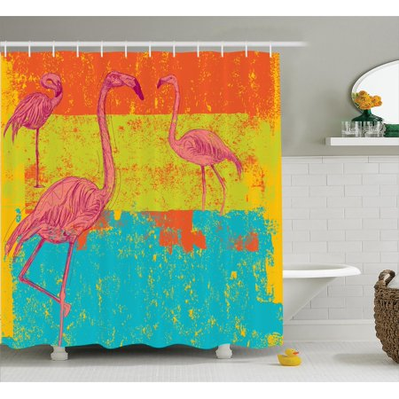 Flamingo decor shower curtain set illustration of flamingos in old style retro vintage colored for Flamingo bathroom accessories set