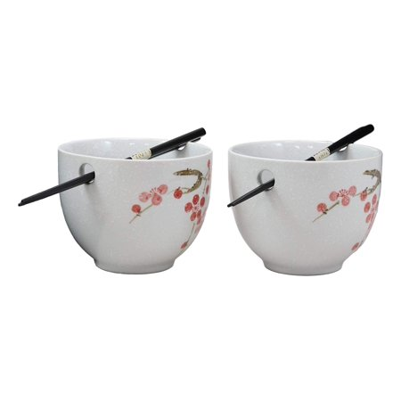 Ebros Ceramic Japanese Sakura Pink Cherry Blossoms in White Purity Ramen Udong Noodles Bowls and Chopsticks Set of 2 for Asian Dining Soup Rice Pasta Salad Collection of Bowl Decor Home Kitchen Pink Salad Bowl