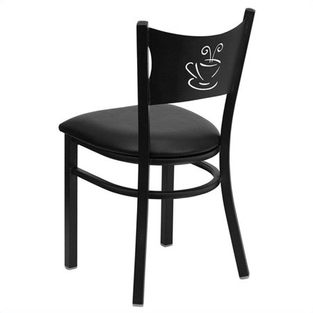 Bowery Hill Coffee Back Metal Dining Chair in Black - image 1 de 2
