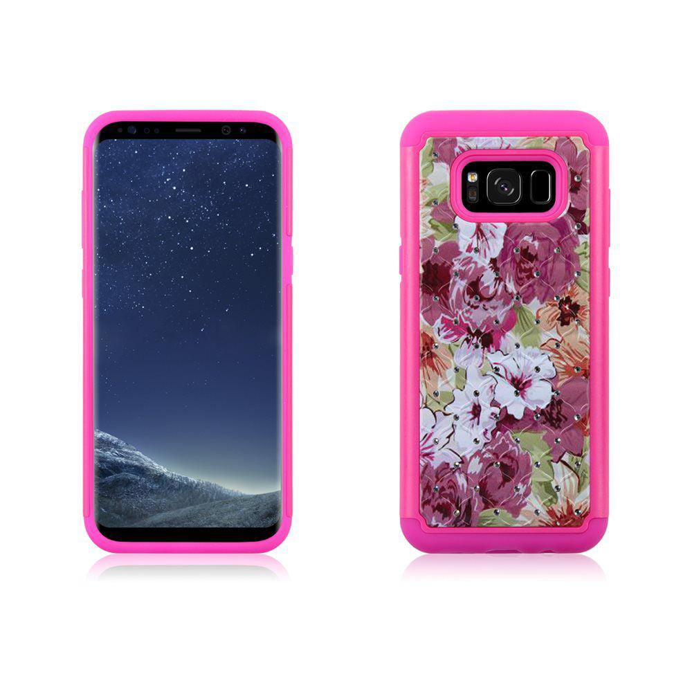 MUNDAZE Pink Rose Garden Diamond Hybrid Case For Samsung Galaxy S8 Plus Phone