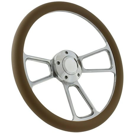 Boat Steering Wheel 14 Inch Aluminum With Tan Vinyl Half Wrap, Horn Button, and Installation (Dark Tan Linen)
