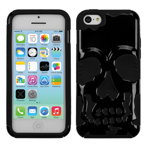 Apple iPhone 5C MyBat Protector Case, Solid Black/Black Skullcap Hybrid