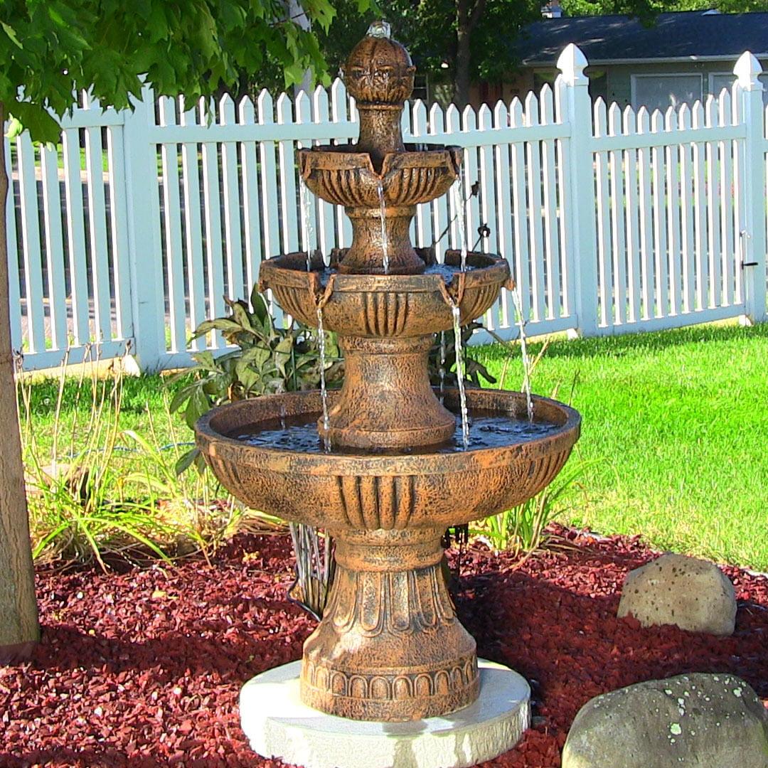 Sunnydaze Flower Blossom 3-Tier Garden Water Fountain, Black, 43 Inch Tall by Sunnydaze Decor