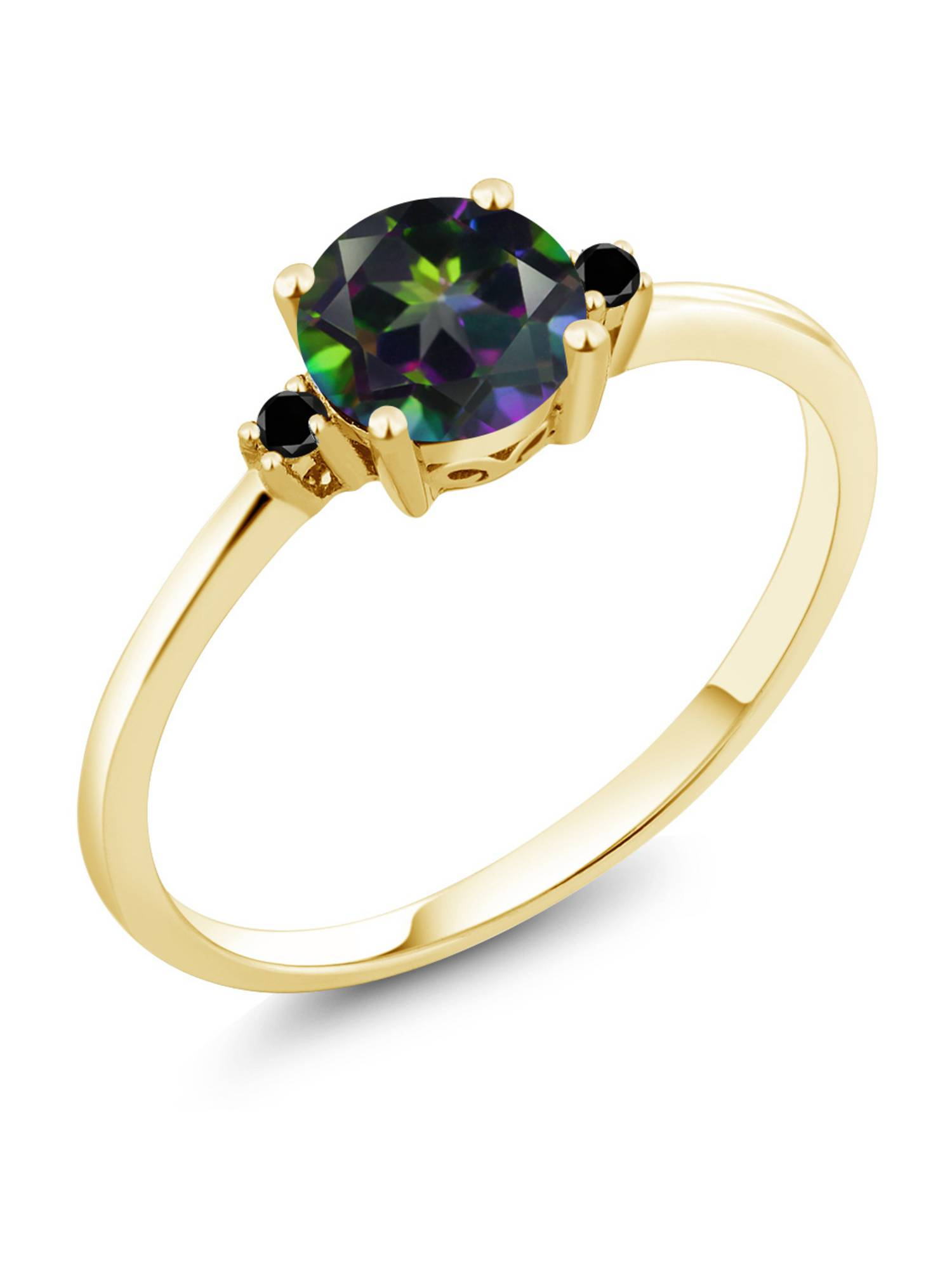 10K Yellow Gold Engagement Solitaire Ring set with 1.03 Ct Round Green Mystic Topaz and Black Diamonds by