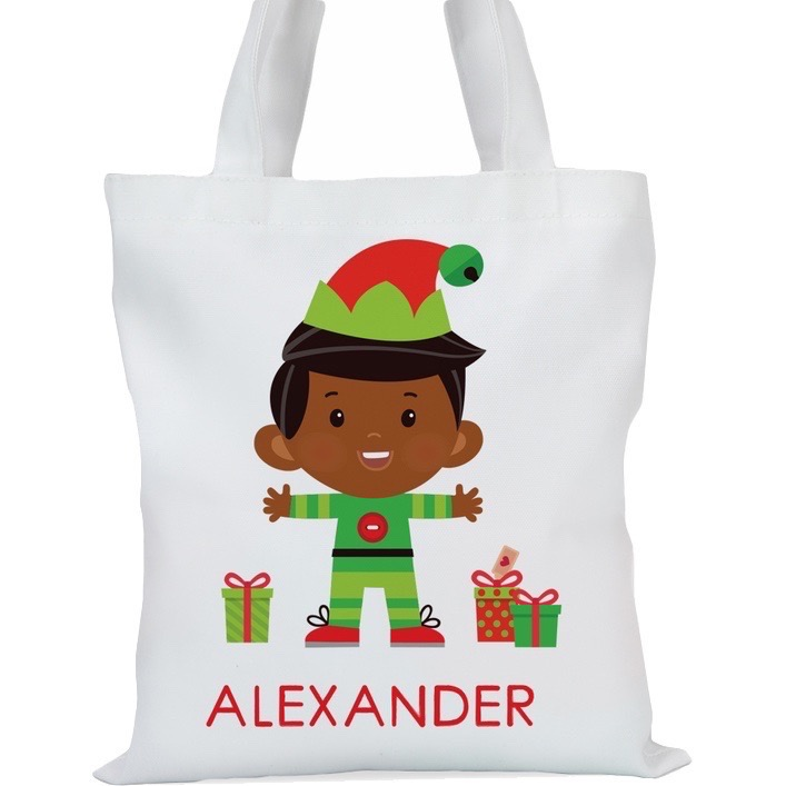 "Santa's Helper Boy Elf Custom Tote Bag , Small: 11"" x 11.75"" or Large: 14.5"" x 16"""