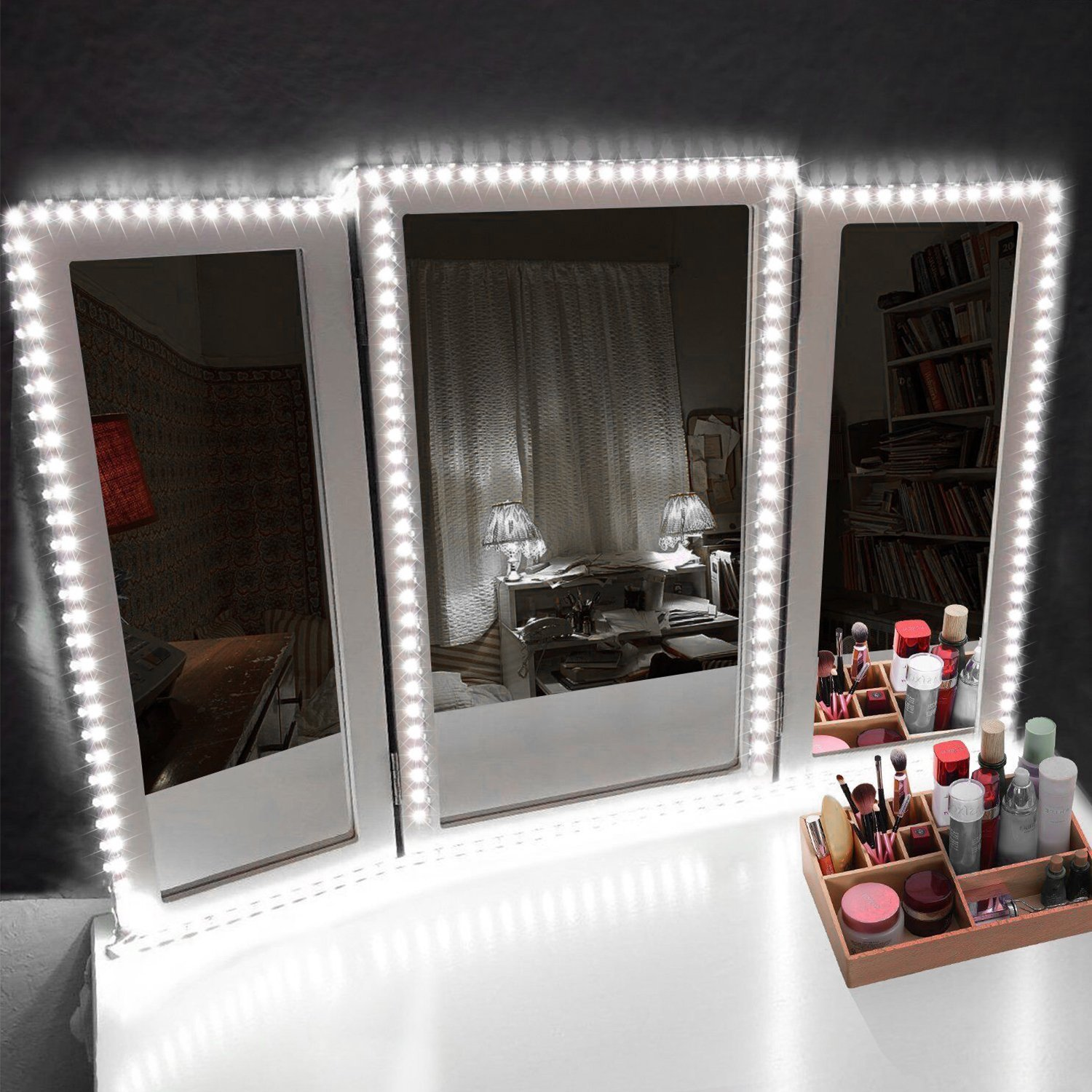 Led Vanity Mirror Lights Kit Kohree 13ft 4m Make Up Vanity Mirror Light Strip Diy Hollywood Style Mirror Light Walmart Com Walmart Com