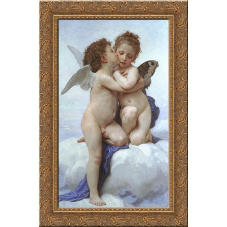 Cupid and Psyche as Children 17x24 Gold Ornate Wood Framed Canvas Art by Bouguereau, William Adolphe