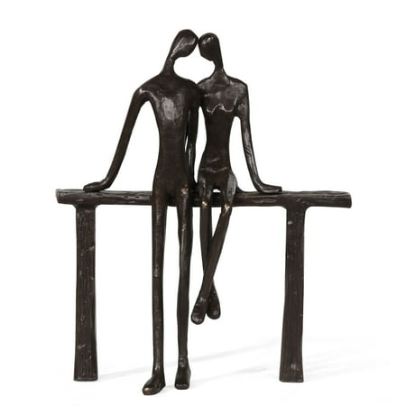 Danya B. Romantic Couple Reclining on Bench Bronze Sculpture