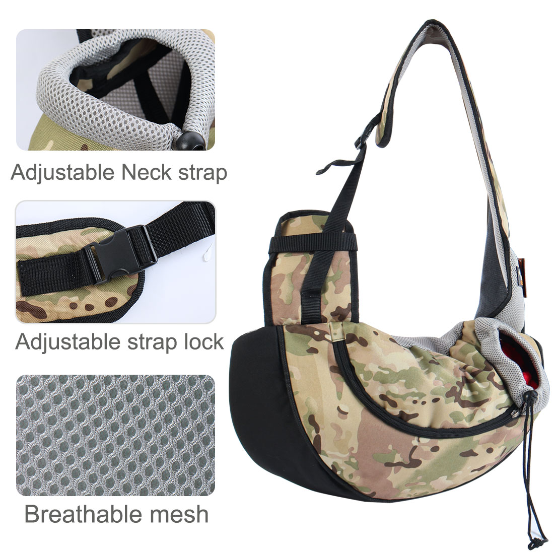 Onding Authorized Pet Dog Carrier Single Shoulder Backpack Army Green Camo - image 4 of 8