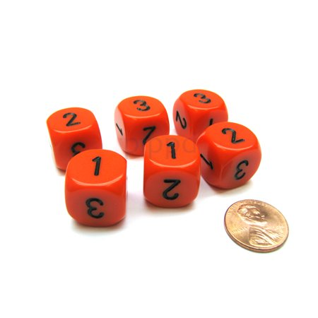 Opaque 16mm D3 Chessex Dice, 6 Pieces (D6 with 1-2-3 Twice) - Orange with Black