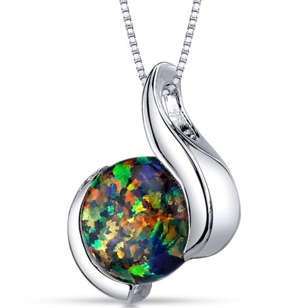 1.75 Carat T.G.W. Round Cabochon Created Black Opal Rhodium over Sterling Silver Pendant, 18
