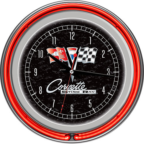 "Corvette C2 Black Chrome 14"" Neon Wall Clock"