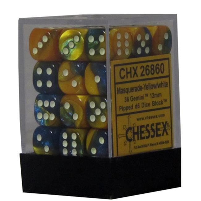 Hasbro CHX26860 Gemini 7 12mm D6 Masquerade And Yellow With White Dice by Hasbro