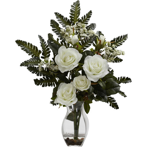 Nearly Natural Rose and Chryistam Arrangement, Red