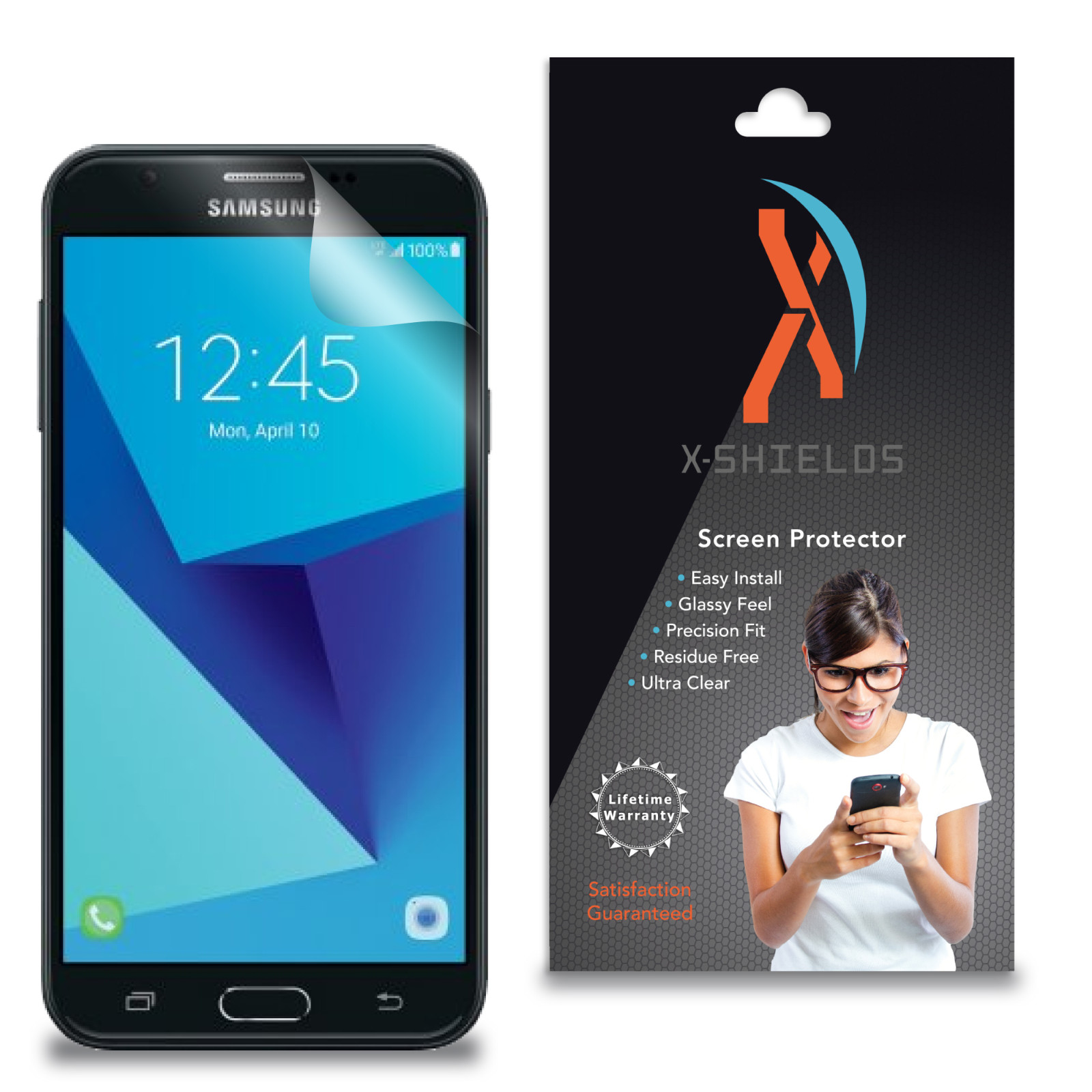 XShields© High Definition (HD+) Screen Protectors for Samsung Galaxy J7 Sky Pro (Maximum Clarity) Super Easy Installation [2-Pack] Lifetime Warranty, Advanced Touchscreen Accuracy