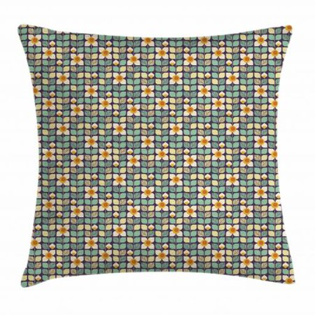 Flower Throw Pillow Cushion Cover, Primitive Grid-like Stylized Petals Leaves and Stems Pattern as Funky Sixties Style, Decorative Square Accent Pillow Case, 18 X 18 Inches, Multicolor, by Ambesonne (Sixties Flower Power)
