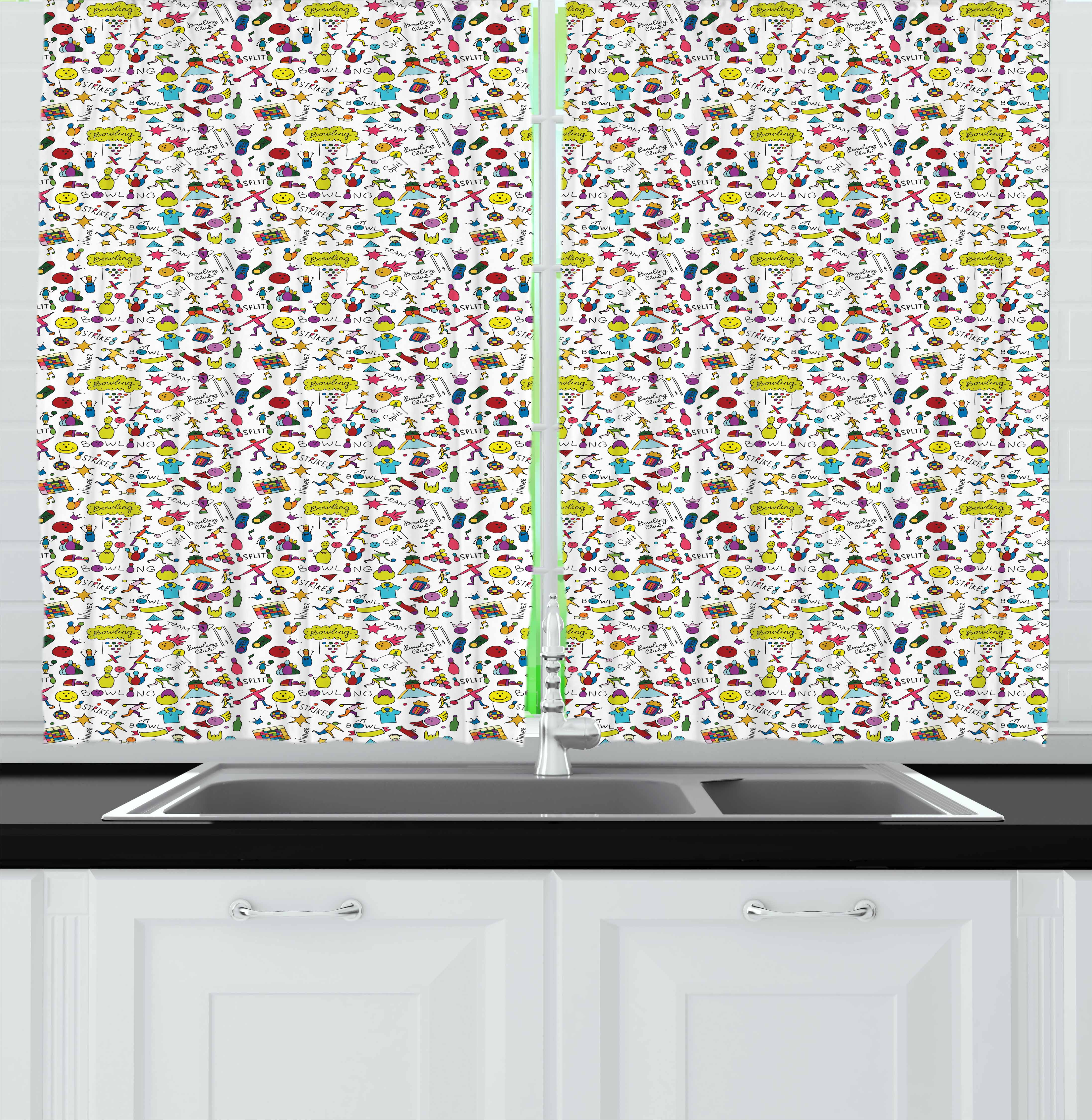 Bowling Curtains 2 Panels Set, Cartoon Style Cheerful Hobby Pattern for Toddler and Children with Colorful Design, Window Drapes for Living Room Bedroom, 55W X 39L Inches, Multicolor, by Ambesonne