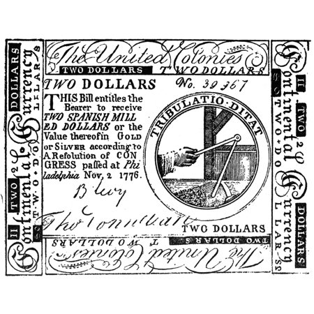 Continental Banknote 1776 Nunited States Continental Currency Two Dollar Banknote 1776 Rolled Canvas Art -  (24 x 36)
