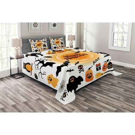 Halloween Bedspread Set Queen Size, All Hallows Day Objects Haunted House Owl and Trick or Treat Candy Black Cat, Quilted 3 Piece Decor Coverlet Set with 2 Pillow Shams, Orange Black, by Ambesonne