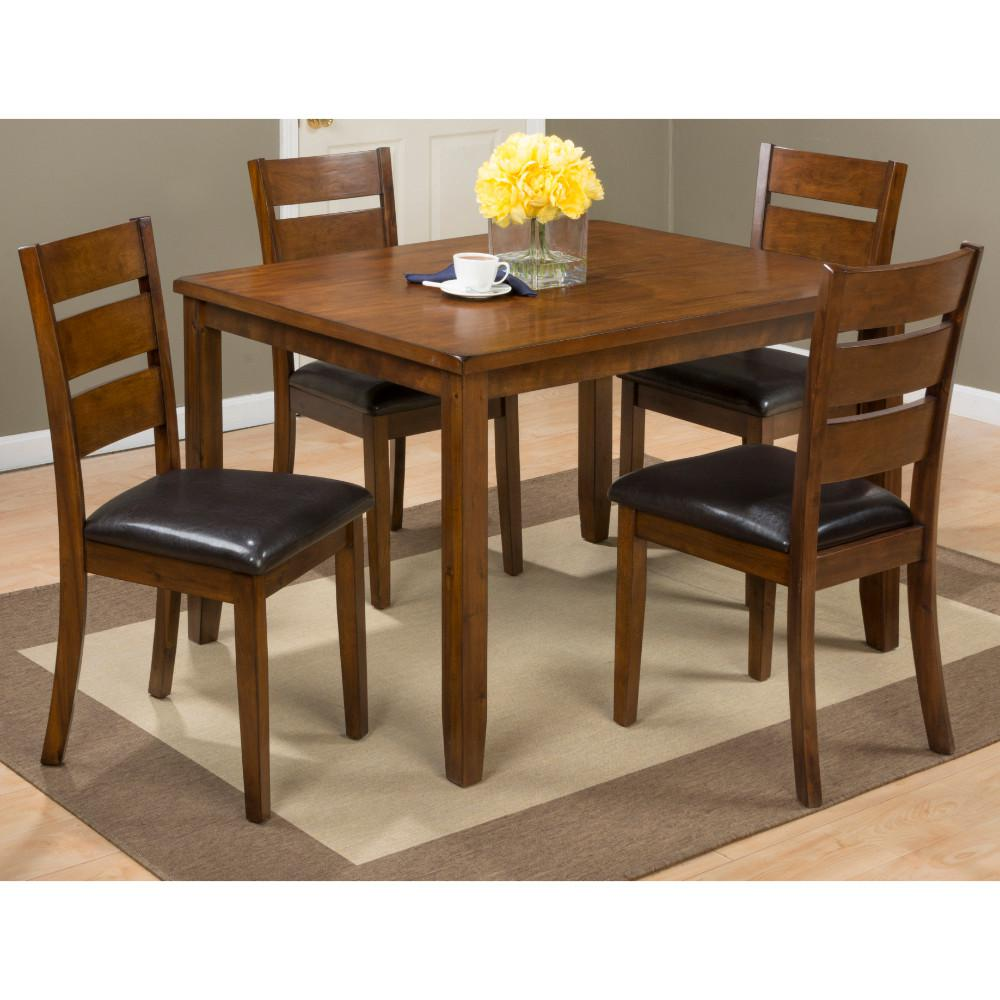 5 Pack Wooden Table and Chair Set, Brown and Black