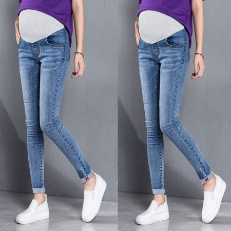 0248e0612caca Pregnant Woman Ripped Jeans Maternity Pants Trousers Nursing Prop Belly  Legging