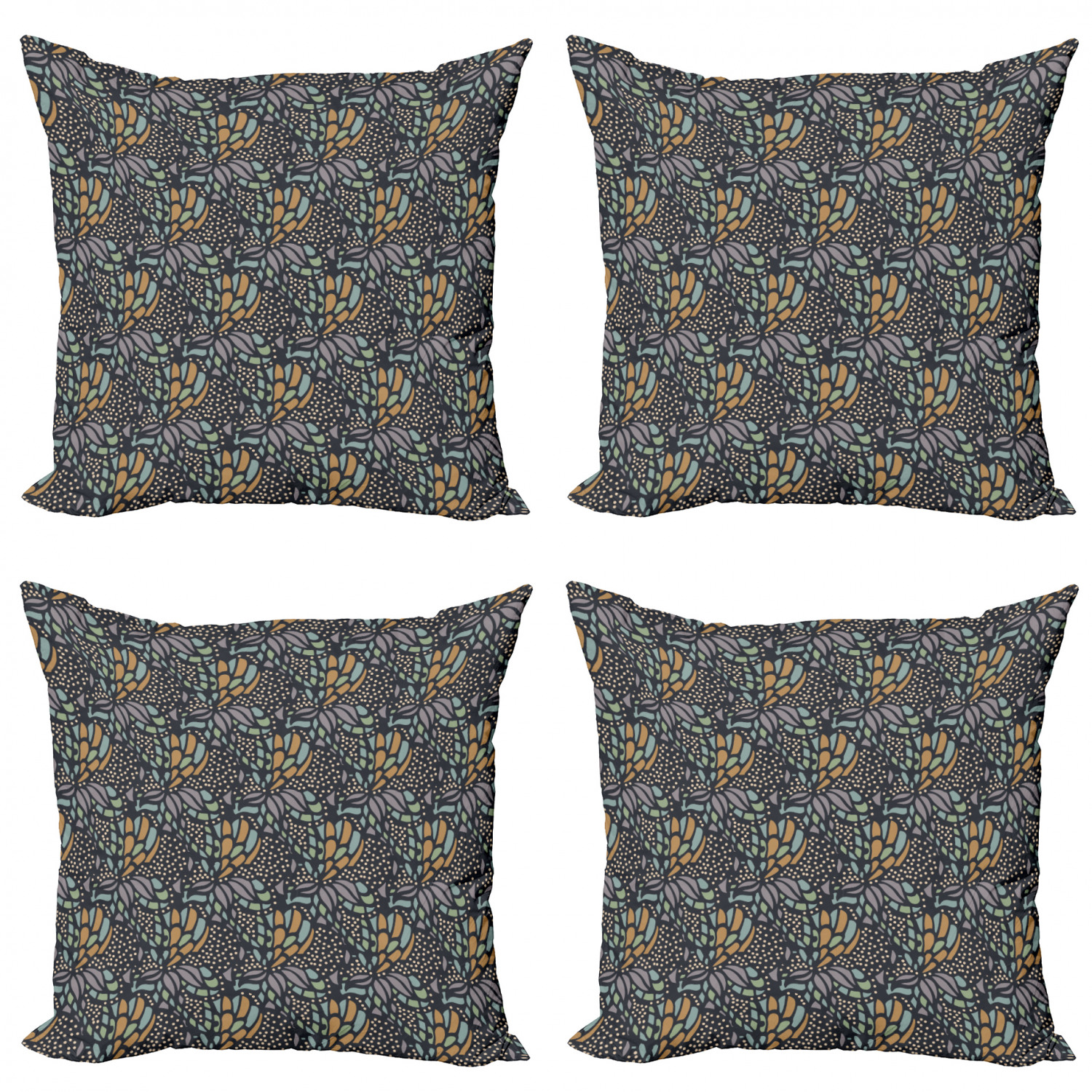 Abstract Throw Pillow Cushion Case Pack Of 4 Doodle Inspired Quirky Pattern With Dots And Flourish Shapes Modern Accent Double Sided Print 4 Sizes Multicolor By Ambesonne Walmart Com Walmart Com
