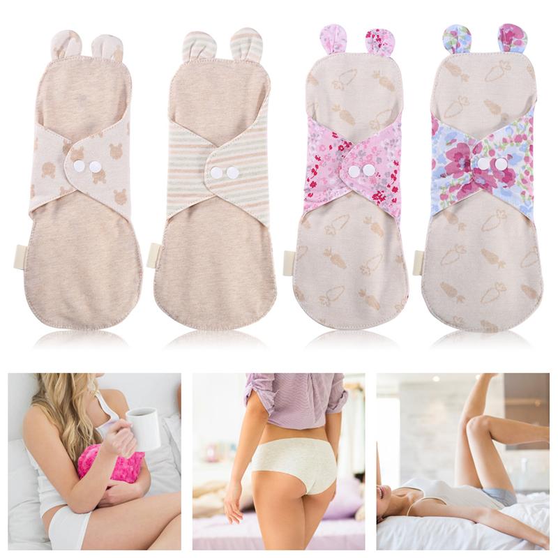 HURRISE 4 Pcs 250mm Reusable Organic Cotton Menstrual Pads Washable Day&Night Panty Liner Sanitary Cloth
