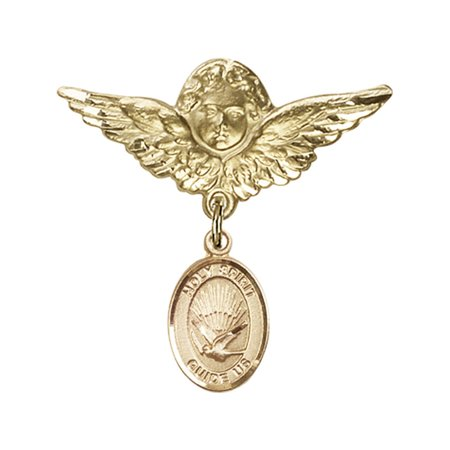 Gold Filled Baby Badge with Holy Spirit Charm and Angel w/Wings Badge Pin 1 1/8 X 1 1/8