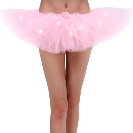 Adult LED Tutu Light Mesh Petticoat Dance Rave Tutu Skirt for 80s Costume (80's Themed Dance Costumes)
