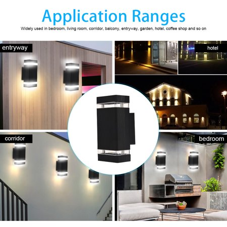 Yosoo 1Pc Double Up and Down Wall Light Indoor Outdoor Home Bedroom Decor Lamp LED Bulbs Included,Wall Light - image 4 de 7