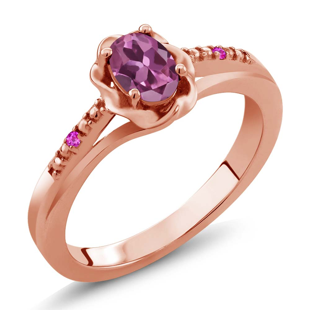0.52 Ct Oval Pink Tourmaline Pink Sapphire 14K Rose Gold Ring by
