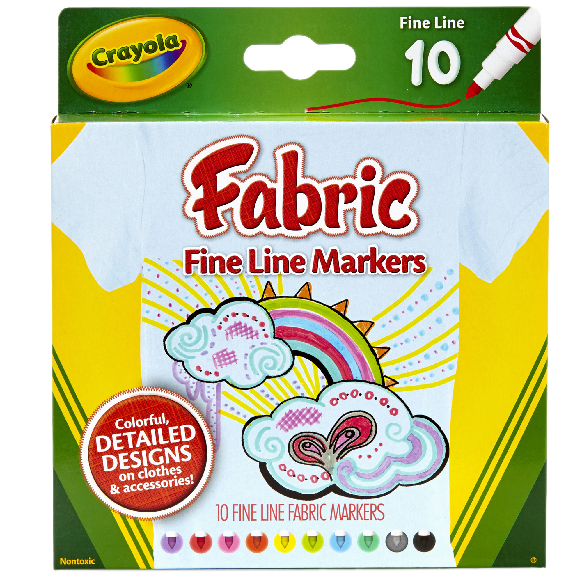 Crayola Fine Line Fabric Markers, 10 Colors Per Box, Set Of 4 Boxes