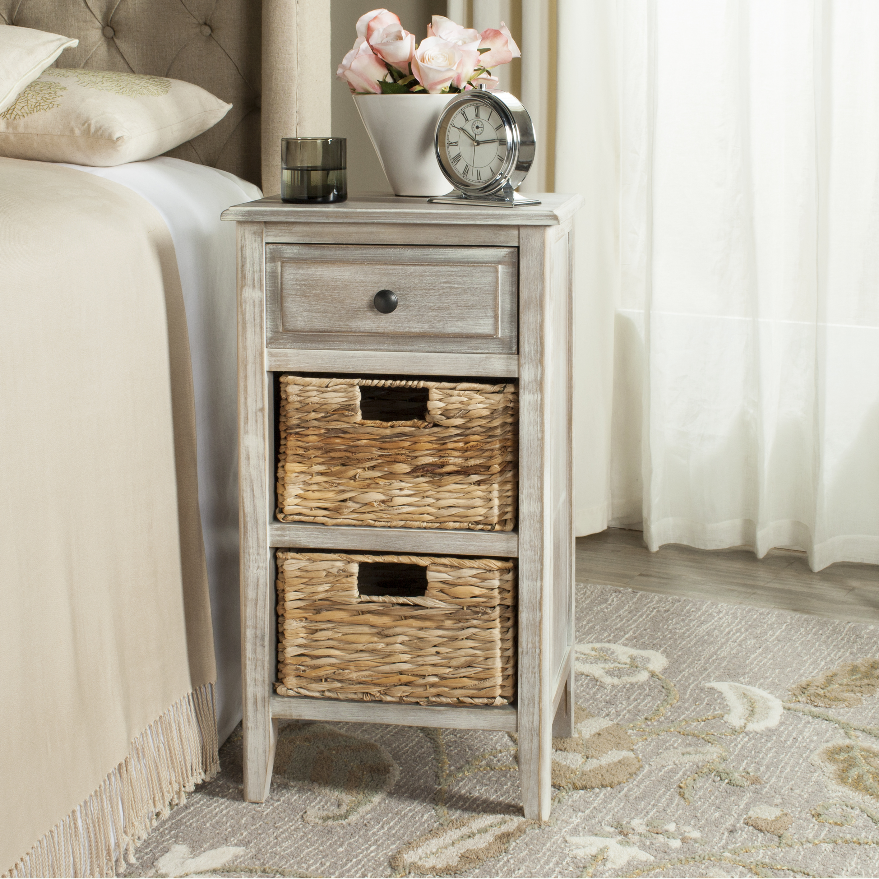 Bon Safavieh Everly Contemporary Side Table With Drawer And Two Baskets
