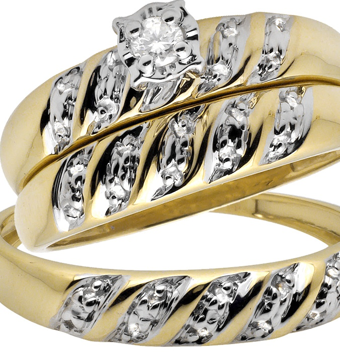 10K Yellow Gold Miracle Set Swirl Diamond Bridal Wedding Ring Trio Set 1/10CT