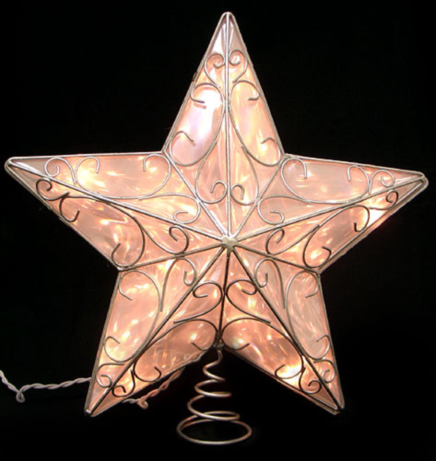 """14"""" Ice Palace Lighted Scrolling Silver Star Christmas Tree Topper- Clear Lights"""