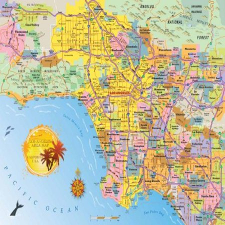 Los Angeles Area Map Jigsaw Puzzle   1000 Piece   Map Of The La Metro Area With Highly Detailed   Accurate Cartography For Kids   Adults By Hennessy Puzzles   Made In The Usa With Recycled Materials