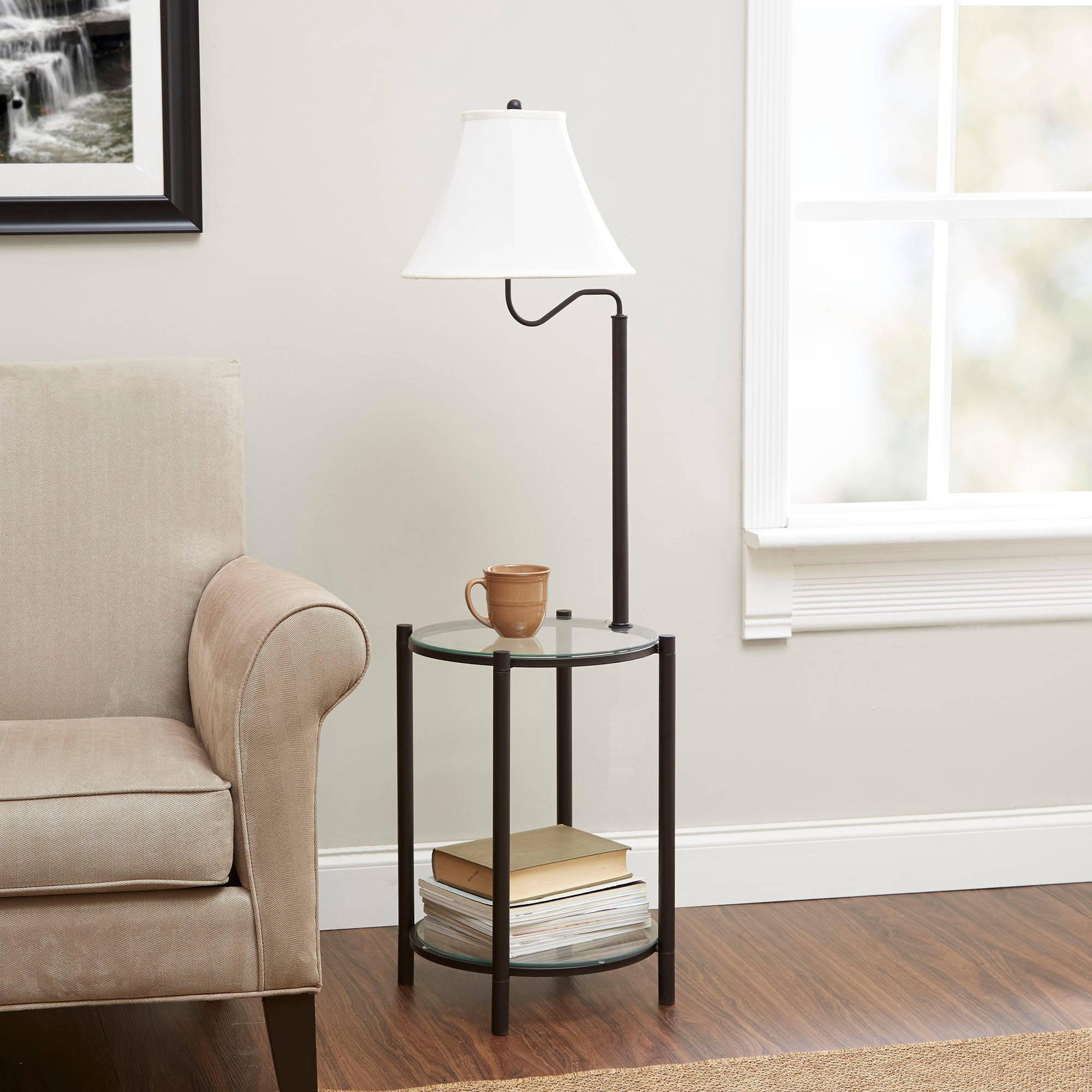 Mainstays Glass End Table Lamp, Matte Black