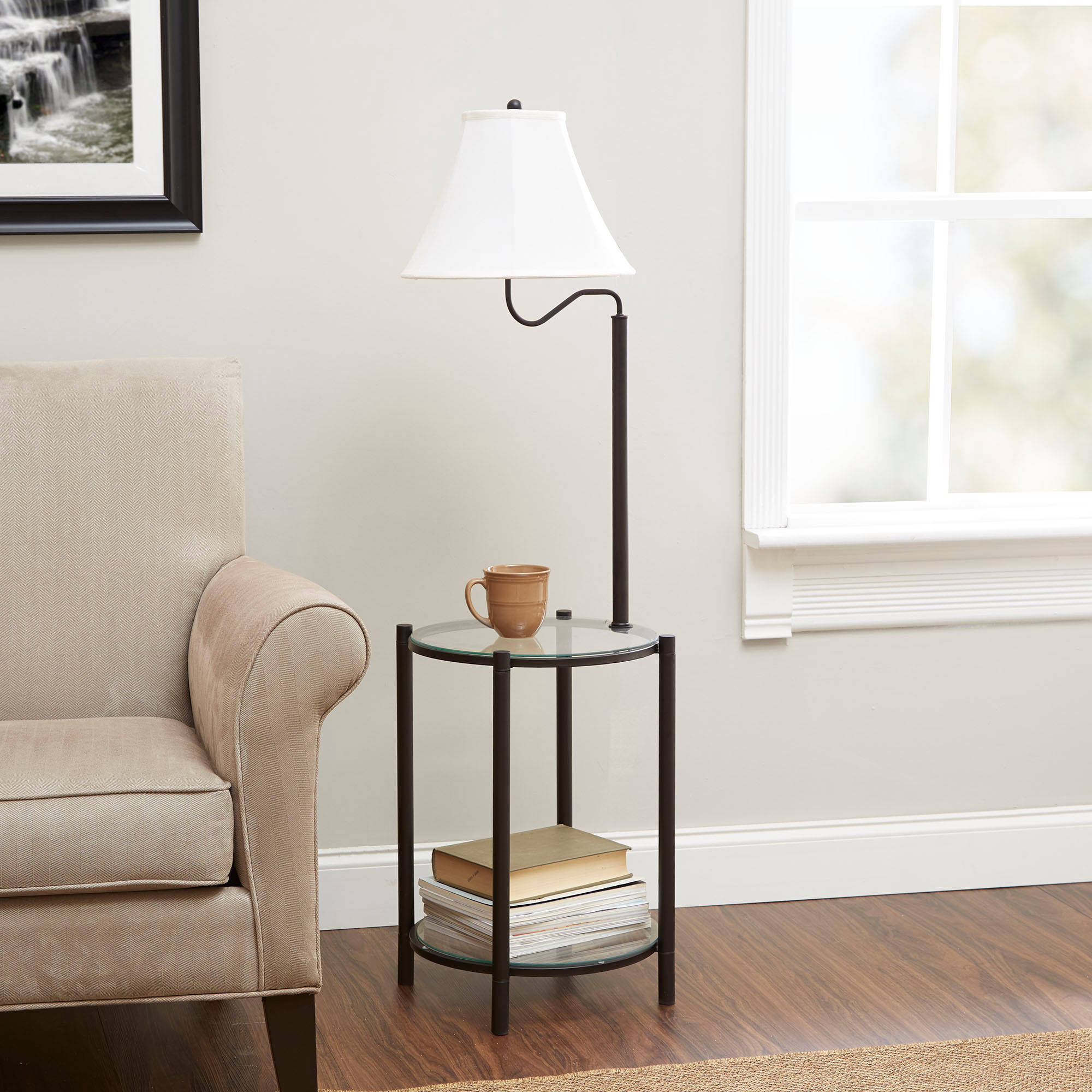 Mainstays Glass End Table Lamp, Matte Black