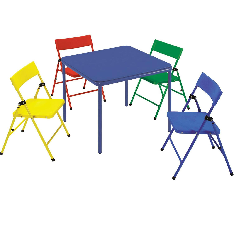 Kids 5 Piece Steel Frame Folding Chair And Table Set Walmart Com Walmart Com