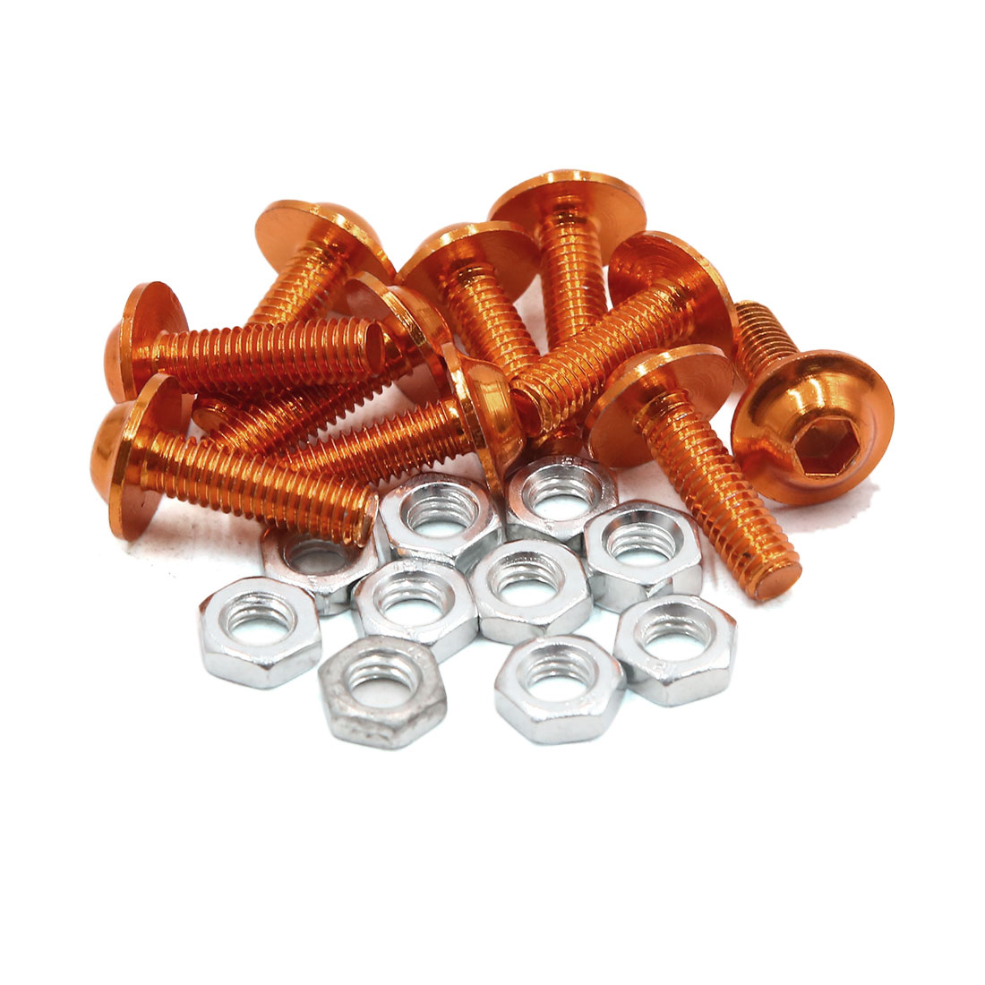10pcs M6 Orange Aluminum Alloy Hex Socket Head Motorcycle Bolts Screws Nuts