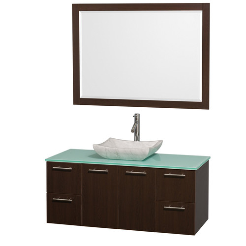 Wyndham Collection Amare 48 inch Single Bathroom Vanity in Gray Oak with Green Glass Top with Bone Porcelain Sink, and 46 inch Mirror