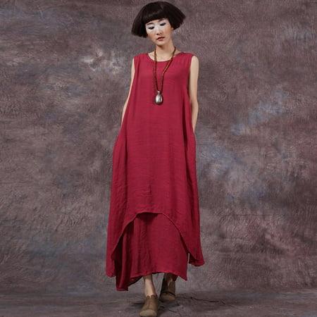 Casual Retro Women Loose Dress Solid Sleeveless O-Neck Pockets Boho Long Maxi Dress Vestidos Plus Size - Vestito Halloween