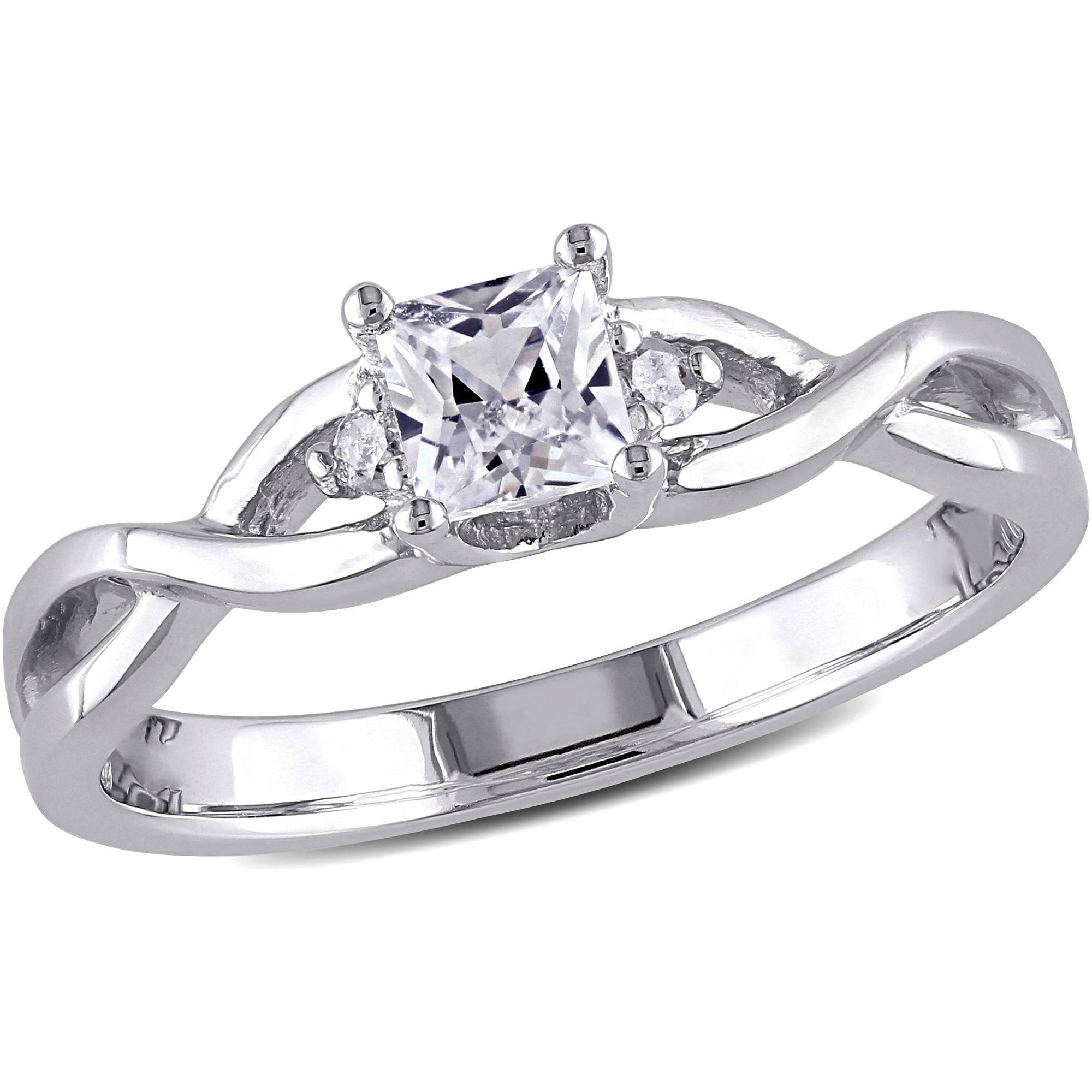 Miabella 3/8 Carat T.G.W. Princess-Cut Created White Sapphire and Diamond-Accent Sterling Silver Cross-Over Engagement Ring