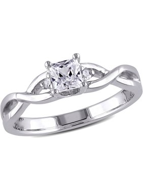 3/8 Carat T.G.W. Princess-Cut Created White Sapphire and Diamond-Accent Sterling Silver Cross-Over Engagement Ring