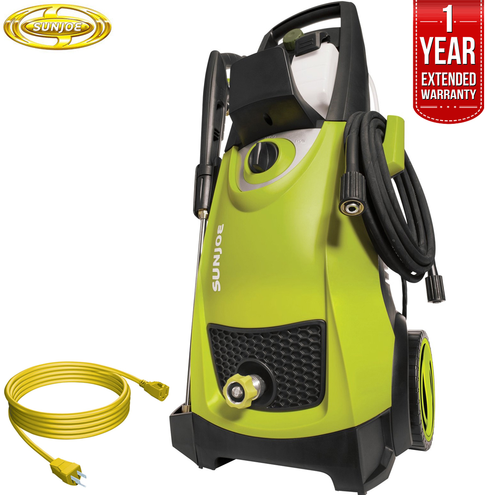 Sun Joe SPX3000 Pressure Joe 2030 PSI Electric Pressure Washer All You Need Bundle with 25 Foot Outdoor Extension Cord and One year Warranty Extension