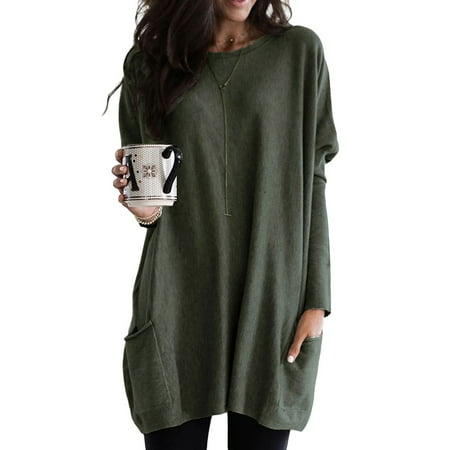 Autumn Winter Oversized Long Sleeve Solid Color Roung Neck Pullover Sweatshirt Blouse For Women Leisure Baggy Pocket T Shirt Tunic Tops